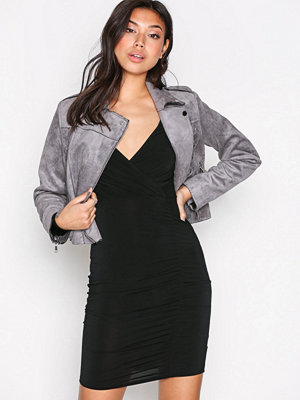 New Look Slinky Wrap Ruch Side Dress Black