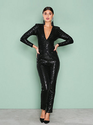 Jumpsuits & playsuits - NLY One Sequin Bodysuit Svart