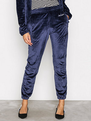 New Black marinblå byxor Velour Tracksuit Pants Navy