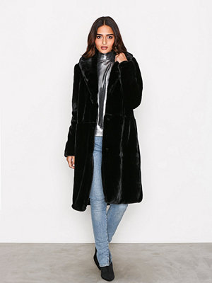 Vero Moda Vmlux Long Faux Fur Jacket Svart