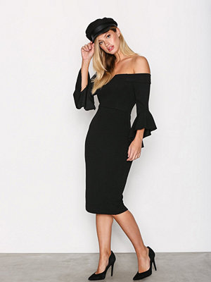 Ax Paris Off Shoulder Flounce Sleeve Dress Black