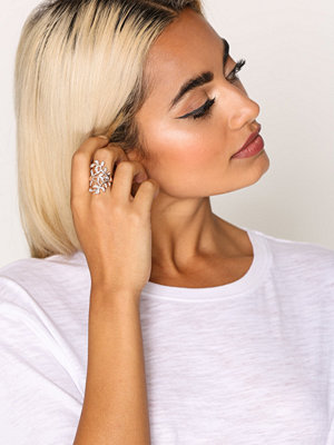 NLY Accessories Oversized Leaf Stone Trellis Ring Guld