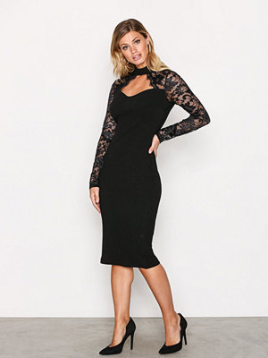 Ax Paris Lace Sleeve Dress Black