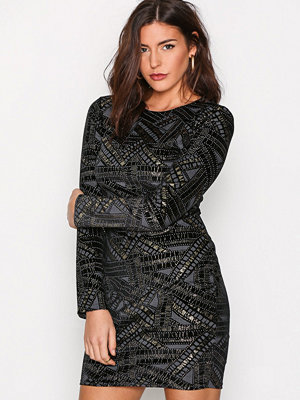 NLY Trend Famous Mini Dress Black/Gold