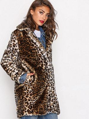 Vero Moda Vmdebora 3/4 Fake Fur Jacket Ljus Brun