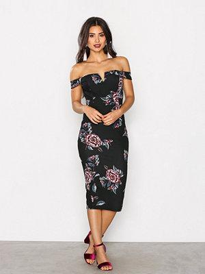 Ax Paris V Bardot Print Dress Black