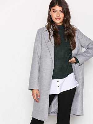 New Look Longline Collared Coat Pale Grey