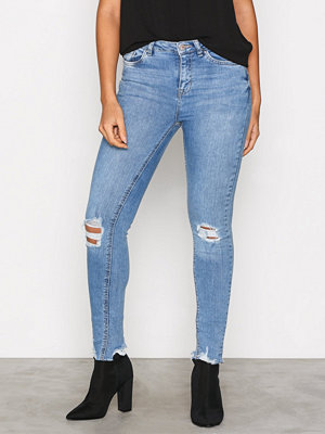 New Look Ripped Fray Skinny Jeans Blue