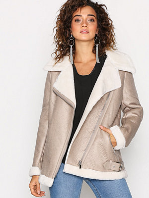 Skinnjackor - New Look Fur Lined Aviator Jacket Oatmeal
