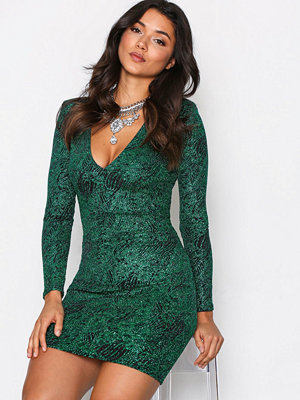 NLY One Plunge Glitter Lurex Dress Grön