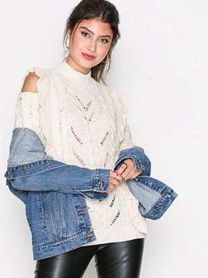 River Island Cable Frill Jumper Cream
