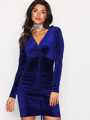NLY One Drawstring Velvet Dress Cobalt Blue