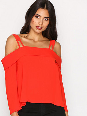 Topshop Tie Back Bardot Blouse Red