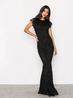 Honor Gold Faye Cap Sleeve Maxi Dress Black