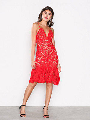 Love Triangle Atomic Frill Hem Dress Red