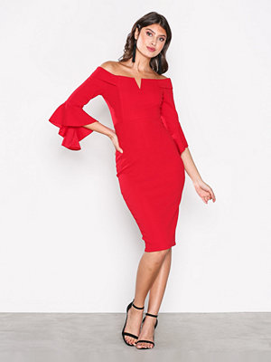Ax Paris Off Shoulder Flounce Sleeve Dress Red