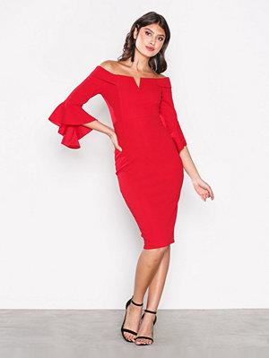 Ax Paris Off Shoulder Flounce Sleeve Dress Red