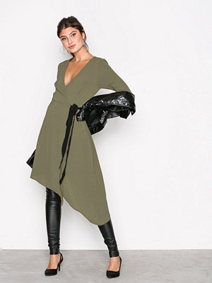 New Look Plain Asymmetric Wrap Midi Khaki