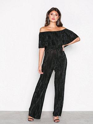 New Look Plisse Bardot Jumpsuit Black