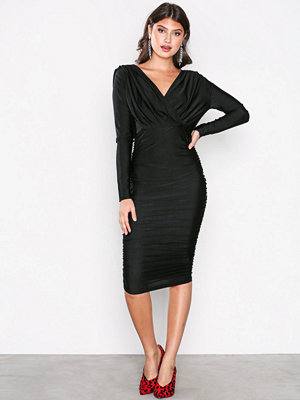 Ax Paris Long Sleeve Wrinkle Dress Black