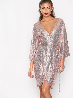 NLY One Sequin Wrap Dress Rose