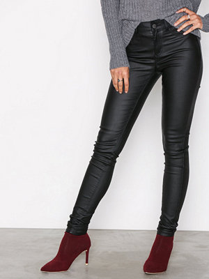 Leggings & tights - Pieces Pcshape-Up Mw Jeggings Coated Black Svart