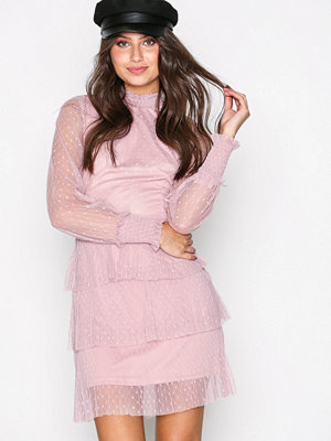 NLY Trend Dotted Frill Dress Rosa