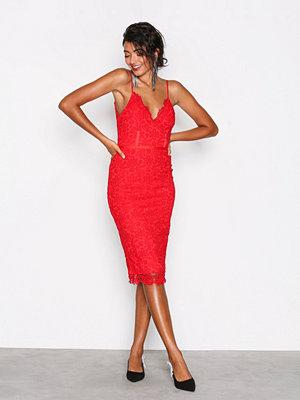 NLY One Crochet Bodycon Dress Röd
