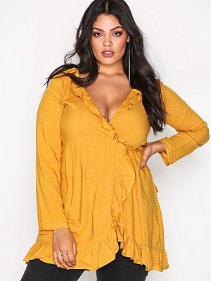 Motel Polka Skater Dress Mustard