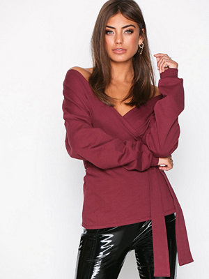 NLY Trend Front And Back Sweat Burgundy