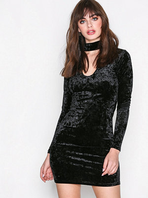 Glamorous Long Sleeve Choker Dress Black