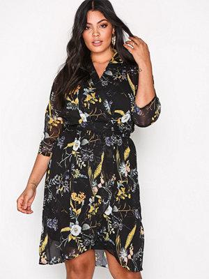 Only onlKATRINE Wrap Dress L/S Wvn Svart