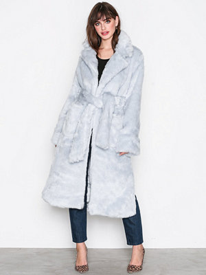 Glamorous Fur Wrap Coat Light Grey