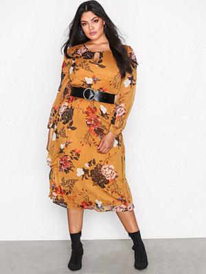 Only onlODA L/S Aop Midi Dress Wvn Ljus Brun