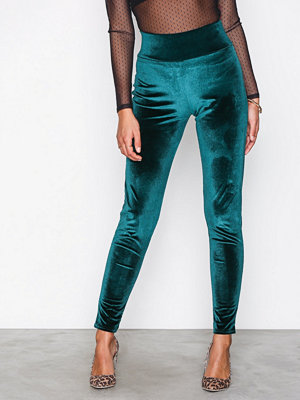 Leggings & tights - NLY Trend High Waist Velvet Legging Mörk Grön