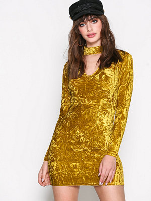 Glamorous Long Sleeve Choker Dress Yellow