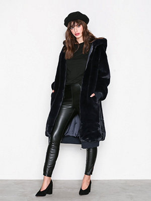 Missguided LONDUNN Hooded Fur Jacket Navy