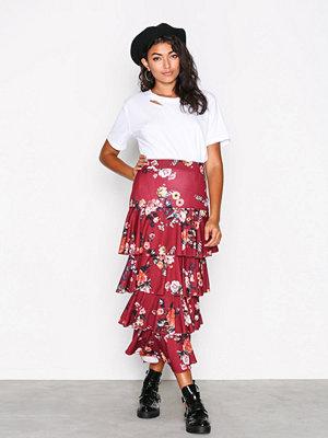 NLY Trend Layered Print Midi Skirt Wine