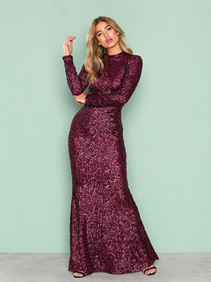 NLY Eve Sequin Polo Gown Burgundy