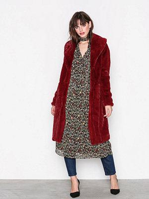 Vero Moda Vmlux Long Faux Fur Jacket Mörk Röd