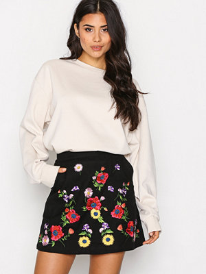 Topshop Embroidered Mini Skirt Black
