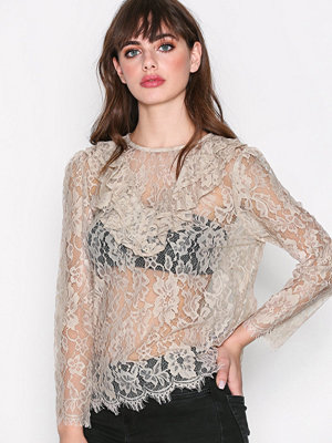 Only onlNASSA Ls Ruffle Lace Top Tlr Beige