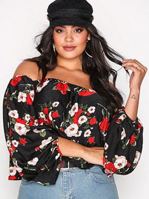 Missguided Printed Balloon Blouse Black