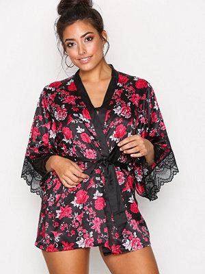 Morgonrockar - Hunkemöller Satin Flower Kimono Svart