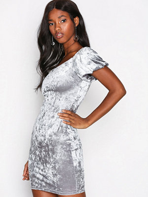 New Look Crush Velvet Bardot Dress Grey