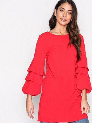 New Look Ruffle Long Sleeve Dress Red