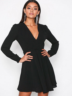 Glamorous Long Sleeve Flounce Dress Black