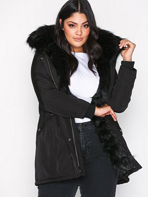 New Look Faux Fur Lined Parka Black