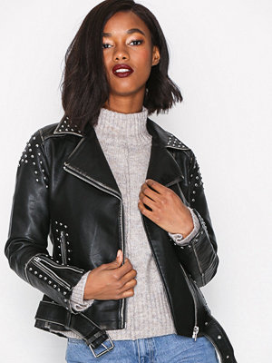 Topshop Studded Biker Jacket Black