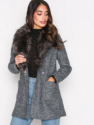 New Look Faux Fur Collar Coat Black